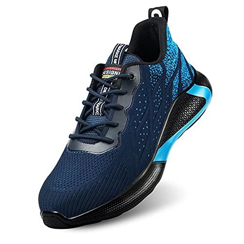 Zapatos de Seguridad S3 para Hombre Zapatillas Zapatos de Mujer Seguridad de Acero Ligeras Calzado de Trabajo para Comodas Unisex Zapatos de Industria y Construcción (Azul 39)