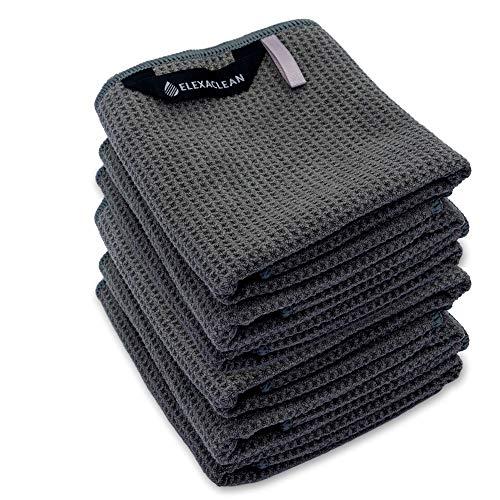 ELEXACLEAN Geschirrtücher (6er Set, 68x42 cm, anthrazit) weiche Microfaser Geschirrhandtücher, Waffeltücher Handtücher für die Küche