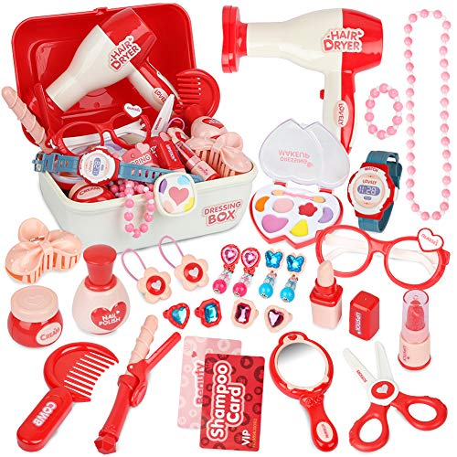 Sanlebi Pretend Maleta de Maquillaje para niños con 28 Piezas peluqueria Juguete de joyería Set para niñas de 3 años