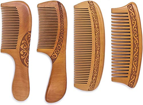 Wooden Hair Combs, Anti-Static, Detangling Fine & Wide Tooth Shower Comb SET, Great for Hair, Curly Hair, Normal Hair, Beard, Mustache. Made from Natural Peach Wood