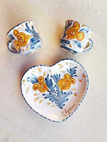 Set 2 Tazzine da caffè con vassoio in ceramica Siciliana dipinto a mano Le ceramiche di Ketty Messina.