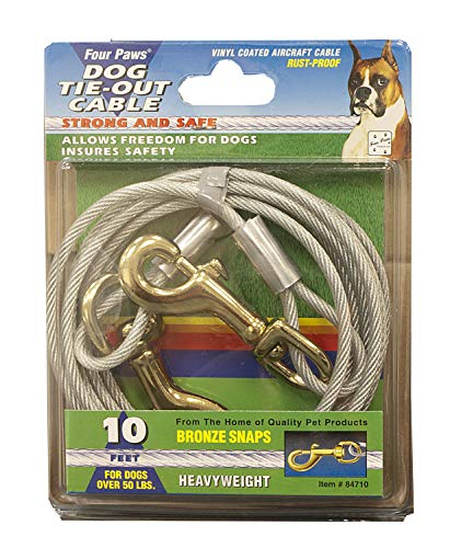Four Paws Heavy Weight Tie Out Cable Silver 10 Feet