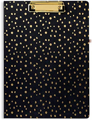 Vera Bradley Women s Black Gold Clipboard Folio with Lined Notepad Midnight Gold Dots product image