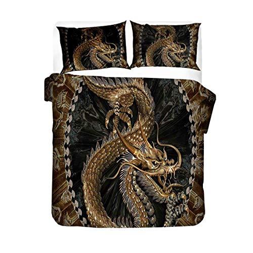 Set di biancheria da letto Helengili con stampa (copripiumino + 2 federe) magico drago cinese antiallergico set copripiumino senza imbottitura (2, matrimoniale)
