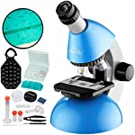 MAXLAPTER 40X-640X Microscope with Prepared Slides Box and Cover Slips, Smartphone Adapter Mounting for iPhone Android Portable for Early Education Family - Blue