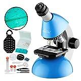 Microscope for Kids Beginners 40X- 640X with Bottom led Light, Plastic Microscope Slides Kit, Phone Holder, for Early Education Home Learning MAXLAPTER - Blue