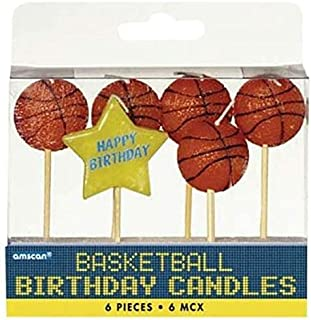 Amscan Basketball Birthday Toothpick Candle Set | 6 pieces
