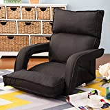 Merax Adjustable Fabric Folding Chaise Lounge Sofa Chair Floor Couch (Black 1)