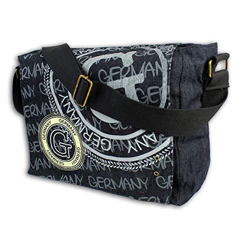Robin Ruth Bolso bandolera de algodón OTG2074S con sello de Alemania, color negro y plateado mate