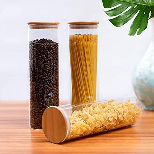 VAVADEN Vorratsgläser Vorratsdosen Glas Set mit Bambus Deckel, 3er Set 750ML Luftdichte Gewürzgläser Set Keksdosen,Vorratsdosenset Glas Aufbewahrung für Aufbewahrung Küche Tee Gewürzgläser Zucker