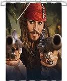 Duschvorhang Pirates of the Caribbean 4: On Stranger Tides Jack Sparrow Anti-Mehltau Wasserdichter waschbarer gewichteter Saum, antibakterieller Duschvorhang aus Polyester, mit 12 Ringen 180x180cm