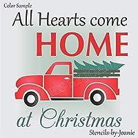 Joanie 12インチ x 12インチ ステンシル オールハート ホーム クリスマス ビンテージ レッド トラック クリスマスツリーキャビン DIYサイン