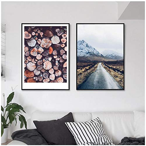 Póster escandinavo Long High Way Road Nature Landscape Arte de Pared nórdico Impresión en LienzoImagen de decoración del hogar - (60x80cm) x2pcs Sin Marco