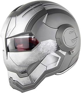 <h2>D.O.T Zertifiziert Motorrad Helm Motocross Vollgesichts Casco Moto Flip Offene Maske Helm, Iron Man Transformers - M, L, XL Grau,XL60~61CM</h2>