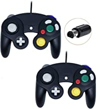 Poulep Wired Controller for Gamecube Game Cube, Classic Ngc Gamepad Joystick for Wii Nintendo Console (Black and Black)