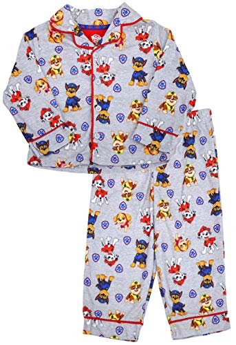 Nickelodeon Boy's Paw Patrol Coat Style Flannel Pajama Set, 5T Gray