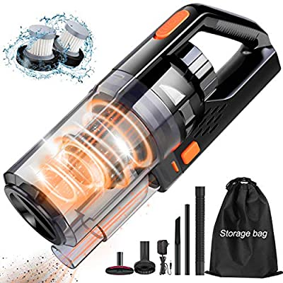 Portable Handheld Vacuum Cleaner 8KPA-Handheld Vacuum Cordless with Powerful Cyclonic Suction,Rechargeable Wet/Dry Cleaner with Quick Charge Tech,for Home,Car and Pet Hair Cleaning,Black&Orange