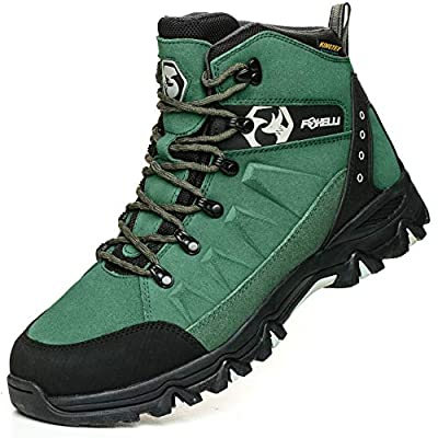 Foxelli Men's Hiking Boots – Waterproof Suede Leather Hiking Boots for Men, Breathable, Comfortable & Lightweight Hiking Shoes Green