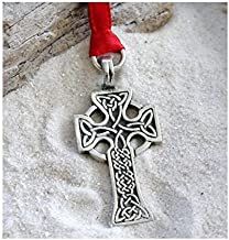 Pewter Celtic Cross with Irish Triquetra Knots Christmas Ornament and Holiday Decoration