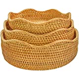 Round Wicker Baskets Rattan Decor Basket Fruit And Vegetable Storage For Serving Potatoes Onions Bread Stackable Set 3 Fruit Holder For Kitchen Countertop Organizing (Honey Brown)