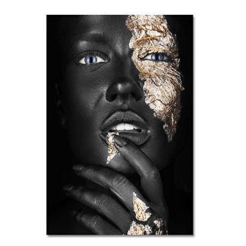 FXBSZ Arte africano negro y oro mujer pintura al óleo lienzo impresión cartel y mural salón nórdico decoración del hogar pintura 40x60 cm sin marco