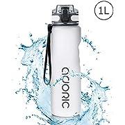 ADORIC Sport Trinkflasche, [BPA Frei Tritan] 1000ML 1L Auslaufsicher Kunststoff Wasserflasche Sport, Sportflasche Fahrrad für Camping Freien, Outdoor, Yoga, Gym,Eisweiß.