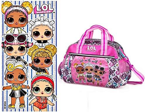 RainbowFUN.de LOL Surprise - Bolsa de deporte para niña, bolsa de entrenamiento, toalla de mano, bolso de hombro, toalla de baño L.O.L. Para muñecas.