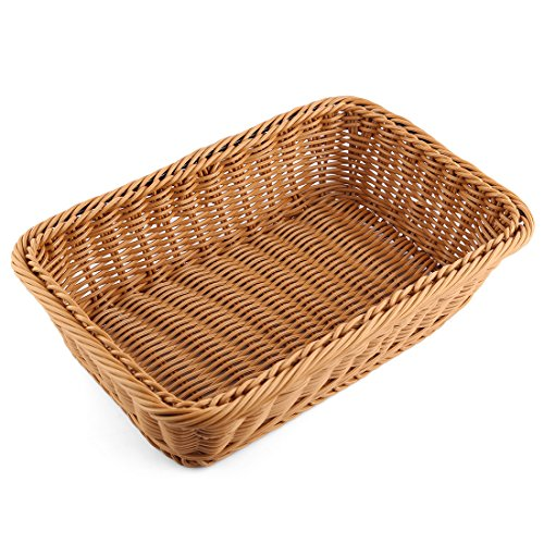 PeleusTech Bread Basket Imitation Rattan Rectangle Tray Woven Storage Basket For Food Serving Fruit Food Vegetables - size 11.8 x 7.9 x 2.8 inches