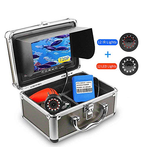 Ovetour Portable Underwater Fishing Camera, Fish Finder with 7'' Upgraded 1280 X 720P HD LCD Screen, 24 Lights, IP68 Waterproof Camera, for Ice, Lake, Boat, Sea Fishing (15M Cable)
