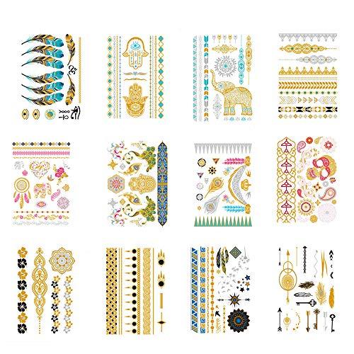 Gold Tattoos, Temporäres Tattoo, wasserdichtes Tattoo-Papier, Gold & Silber Designs Body Art Decals für Armband/Fußkettchen/Dreieck/Finger Tattoo-12 Blatt