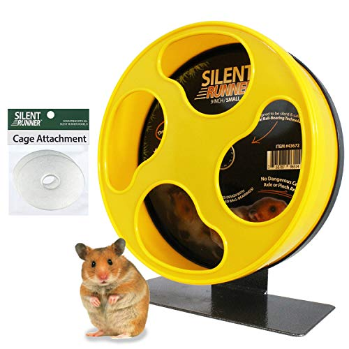 "Silent Runner 9"" - Exercise Wheel + Cage Attachment - for Hamsters, Gerbils, Mice and Other Small Pets"