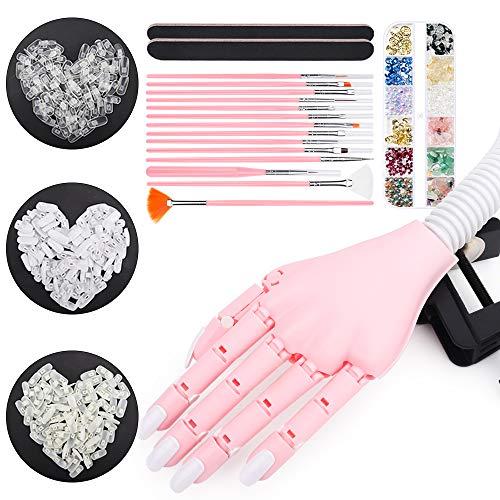 Deciniee Künstliche Fingernägel Übungshand, 300 Stück Nagelspitzen zum Üben (transparent, natürlich, weiß) lackierter Stift professionelle Nagelkunst-Werkzeuge Strass-Dekoration verstellbar Hand