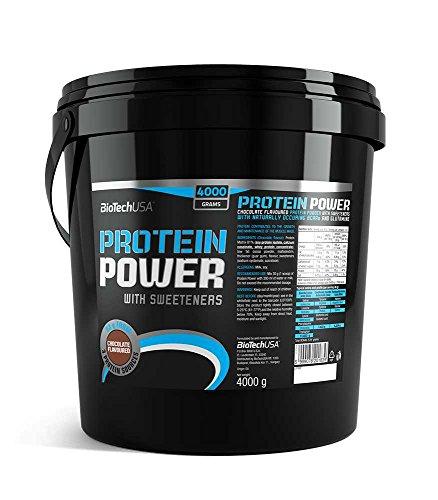 Protein power 4000 g Protein Pulver Erdbeere-Banane - hydrolysiertes Soja-Isolat, Calciumcaseinat und Molkenkonzentrat - BiotechUSA