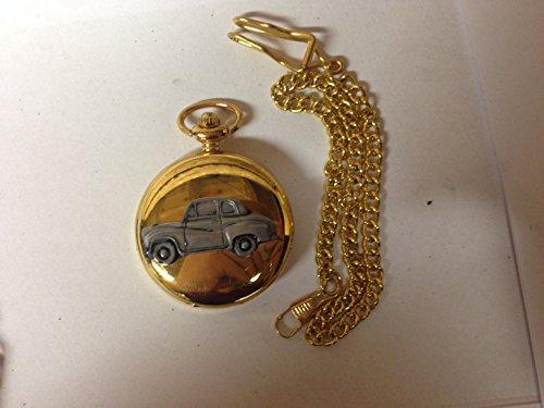 Austin A35 berlina 2 porte ref7 auto stemma in peltro effetto lucido, colore: oro su una custodia regalo orologio da taschino al quarzo, made in sheffield
