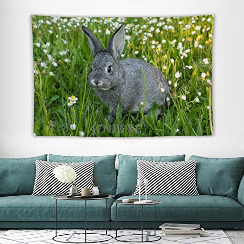 Tapestry Wall Hanging, Adorable Grey Bunny Rabbit Garden Animals Tapestries Wall Decor for Dorm Living Room Bedroom 150x100 cm
