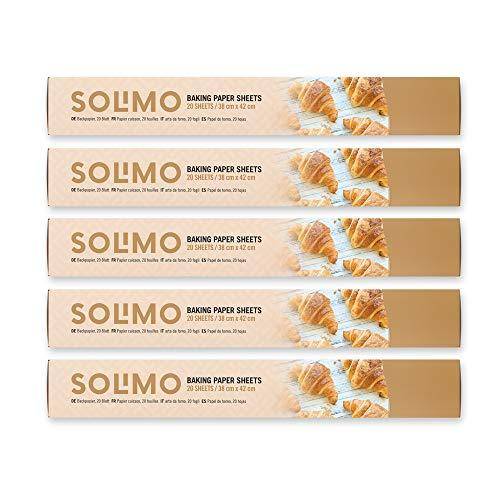 Amazon-Marke: Solimo Backpapier - 38 cm x 42 cm - 5 Rollen mit je 20 Blatt (Insgesamt 100 blatt)