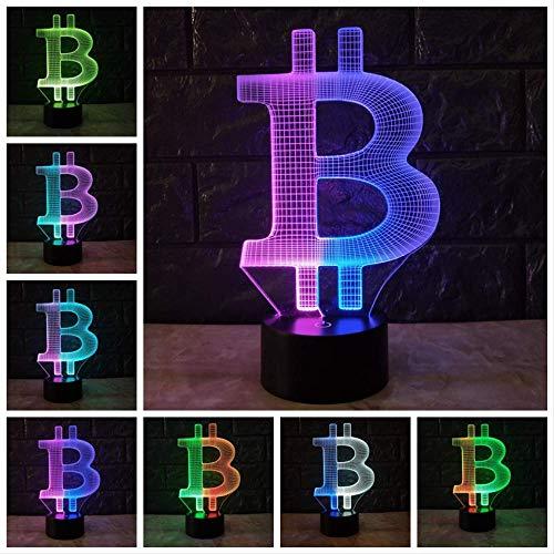 Acryl Bitcoin3D LAMP Stimmung NachtlichtLED Beleuchtung USB Touch Base Tisch Schreibtisch neben dekorativen
