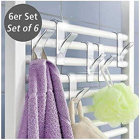 6x oder 4x Heizkörper Haken Rundheizkörper Handtuchhaken Handtuchhalter ✅WENKO