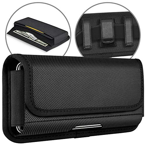 ykooe Horizontale Handy Gürteltasche für iPhone 11/Pro/Max Handytasche mit Kartenhalterung Gürtelclip Ledertasche für iPhone X,XR,XS,8,7,6 Plus (L)