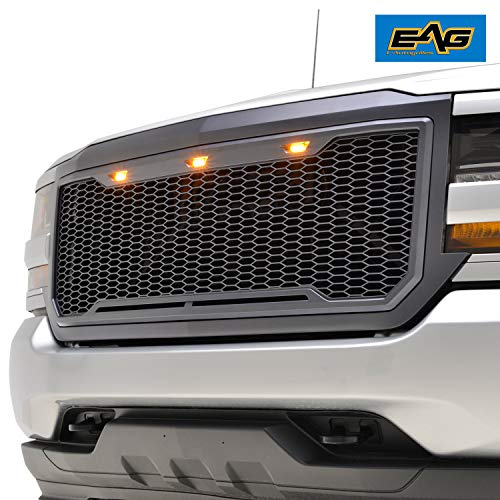 EAG Replacement Upper ABS Grille Front Hood Grill with Amber LED Lights - Charcoal Gray Fit for 16-18 Chevy Silverado 1500