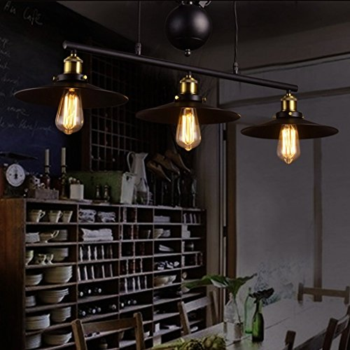 E27 Vintage Iron Pulley Chandeliers, Industrial Retractable Ceiling lights Antique Pulley Rise and Fall Light Fitting for Kitchen Island Dining Room Bar Loft Hallway ( Size : 3-lighting )
