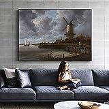 QWESFX Windmühle im Feld Gemälde an der Wand Niederländische Goldene Zeitalter Wandkunst Leinwanddrucke Landschaftsbilder für Wohnzimmer (Druck ohne Rahmen) D 60x90CM