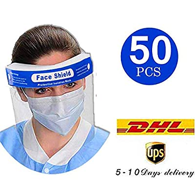 50Pcs Safety Face Shield Reusable Full Face Transparent Breathable Visor Windproof Dustproof Hat Shield Protect Eyes And Face With Protective Clear Film Elastic Band (Get it within 7 days)