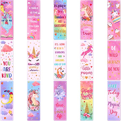 15 Pieces Magnetic Bookmarks Unicorn Rainbow Book Markers Set Inspirational Kids Children's Book Markers Magnet Page Markers for Reading School Classroom Library and Home Girl Daughter