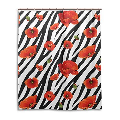 JSTEL Rideau de Douche décoratif Motif zèbre 100% Polyester 152 x 183 cm