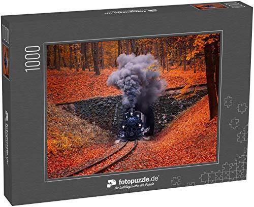 fotopuzzle.de Puzzle 1000 Teile Aus dem Tunnel kommende Dampflokomotive, die dichten grauen Rauch durch den Schornstein ausstößt