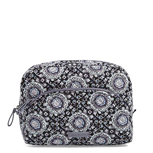 Vera Bradley Women's Signature Cotton Large Cosmetic Makeup Bag, Charcoal Medallion, One Size