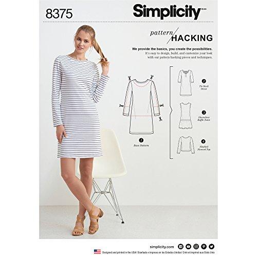 Simplicity US8375A Schnittmuster 8375 Damen Strickkleid oder Top mit Mehreren Musterstücken für Design Hacking, Papier, weiß, 22 x 15 x 1 cm