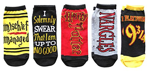 Harry Potter Womens Ankle-No Show Socks 5 Pair Pack, Assorted Colors:Grey, Black, Red and Yellow