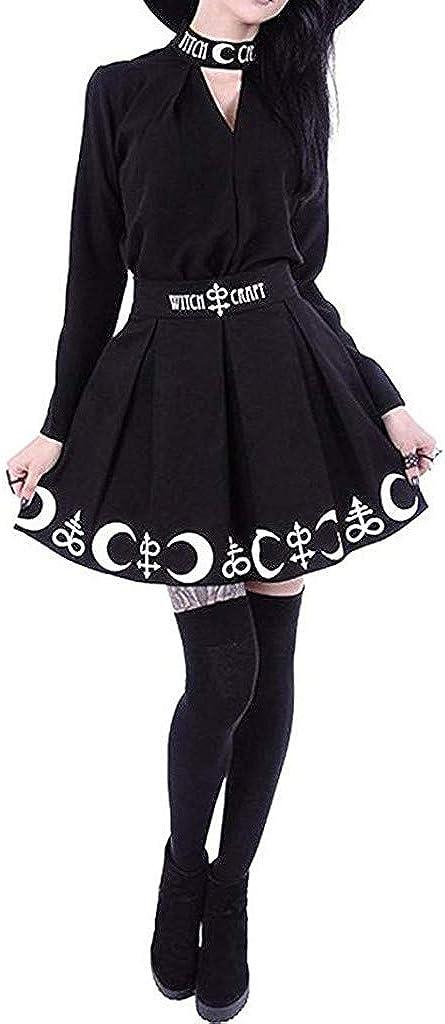 XCeihe Women Flared Gothic Witchcraft Moon Magic Symbol Pleated Mini Skirt Tennis School Skirt